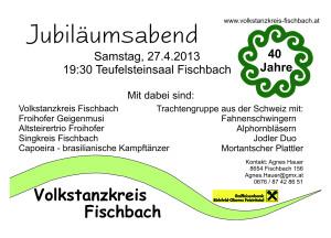Karte 40 Jahre Jubiläum Volkstanzkreis Fischbach